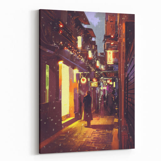 Romantic Man Standing In Front Of A Door At Night,illustration Painting Canvas Wall Art Print