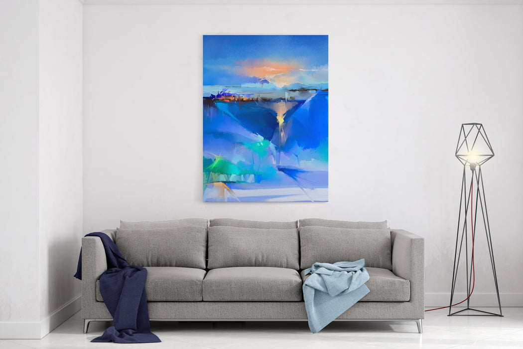 Abstract Colorful Oil Painting Landscape On Canvas Semi Abstract Image Of Tree, Hill And Green, Blue Field With Sunlight And Blue Sky Spring Season Nature Background Canvas Wall Art Print