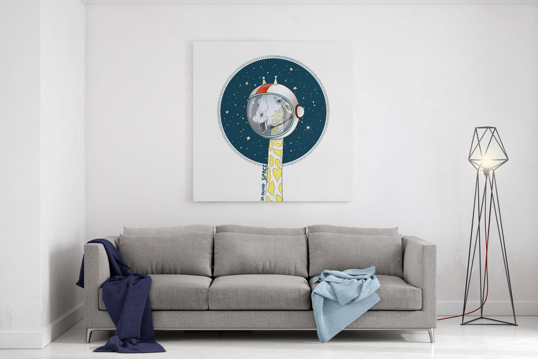 Giraffe In Outer Space, Hand Drawn Animal Art Print, Kid Illustration Canvas Wall Art Print
