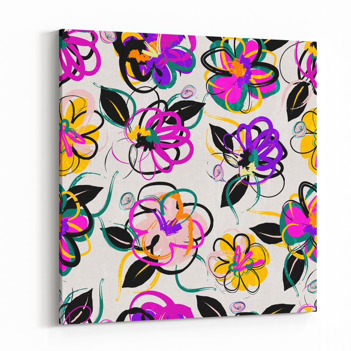 Floral Seamless Pattern Background, With Strokes, Summer Flowers Canvas Wall Art Print