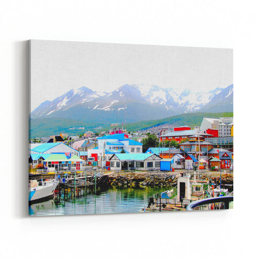 Colorful Houses At The End Of The World Multi Colored Houses In The Patagonian City Of Ushuaia, Argentina Ushuaia Is The Capital Of The Argentine Province Of Tierra Del Fuego Canvas Wall Art Print