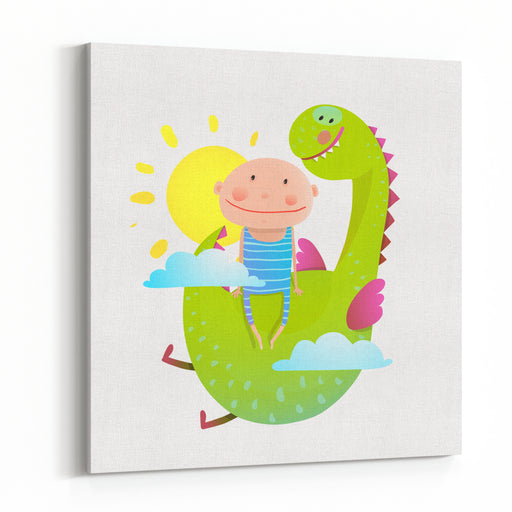 Baby And Dragon Cloud Sun Flying Happy Friends Baby And Dragon Friendship Animal Funny Monster, Young Kid Cheerful, Vector Illustration Canvas Wall Art Print