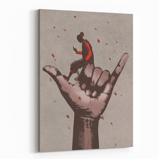 Big Hand In CALL ME Sign With Man Using Mobile Phone,illustration Painting Canvas Wall Art Print