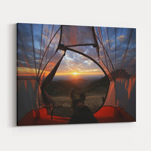 A Camping Tent Glows Under Sunset To A Night Sky  Outdoor Camping Adventure Canvas Wall Art Print