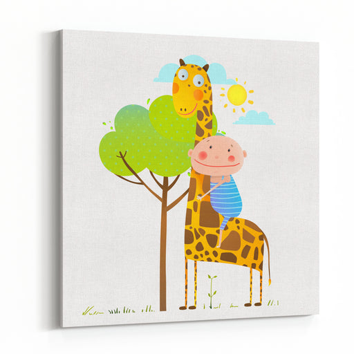Little Boy Hugging A Giraffe Childish Friendship Happy Friend, Child Cuddling Animal, Cartoon Vector Illustration Canvas Wall Art Print