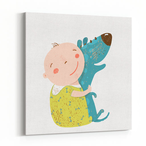 Little Kid Hugs Dog Best Happy Friends Child Happiness Smiling With Friend Animal Pet, Vector Cartoon Colorful Illustration Canvas Wall Art Print