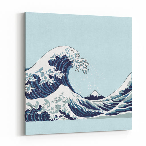 Wave Vector Illustration Japanese Motif Japan Background Hand Drawn Illustration Of Japan Canvas Wall Art Print
