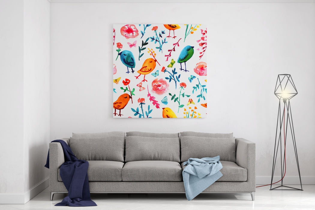 A Seamless Background Pattern With Quirky Watercolor Birds, Butterflies, And Abstract Florals, Hand Painted On White Background Canvas Wall Art Print