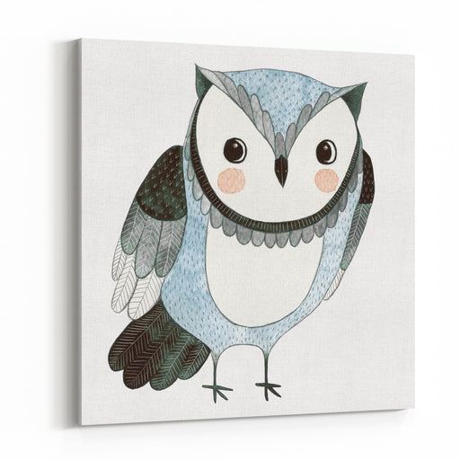 Watercolor Kids Illustration With Owl Hand Drawn Animal Drawing Owl Bird Painting  Canvas Wall Art Print