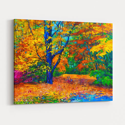 Original Oil Painting On Canvas  Colorful Fall Painting Modern Impressionism Canvas Wall Art Print
