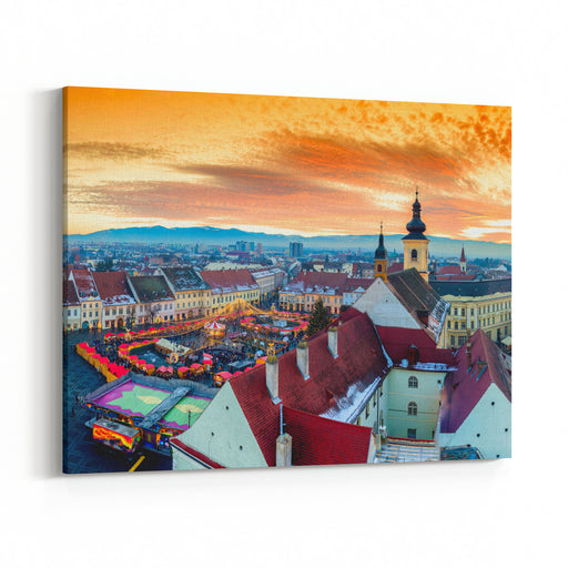 Panoramic View Of Sibiu Central Square In Transylvania, Romania City Also Known As Hermannstadt Sunset HDR Hiresolution Photography Canvas Wall Art Print