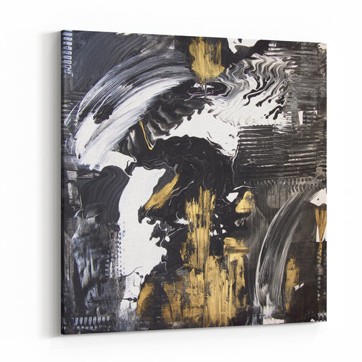 Abstract Hand Painted Black And White With Gold Background, Acrylic Painting On Canvas, Wallpaper, Texture Canvas Wall Art Print