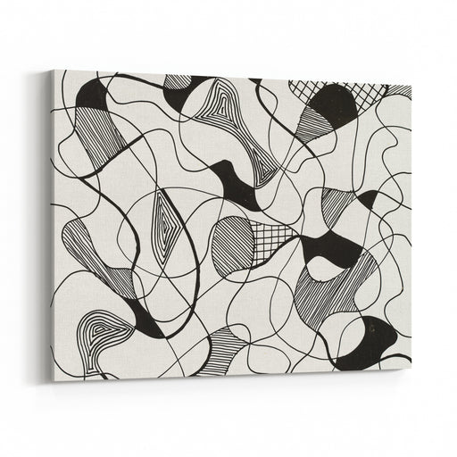 A Monochrome Abstract Pen And Ink Sketch Irregular Division Of A White Ground Canvas Wall Art Print