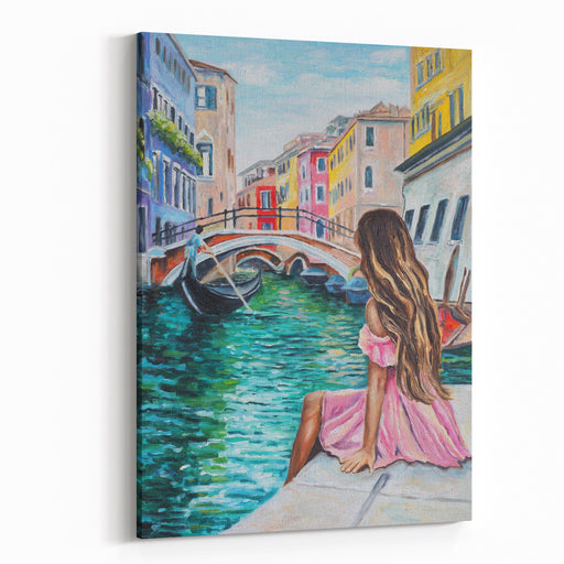 Original Oil Painting On Canvas  Romantic Lady In Venice  Italy Canvas Wall Art Print
