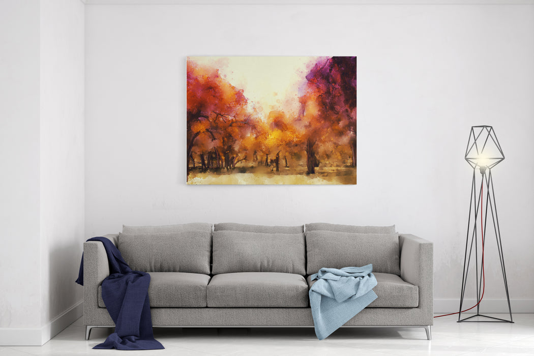 Abstract Painting Of Colorful Forest In Autumn In Warm Tone Canvas Wall Art Print