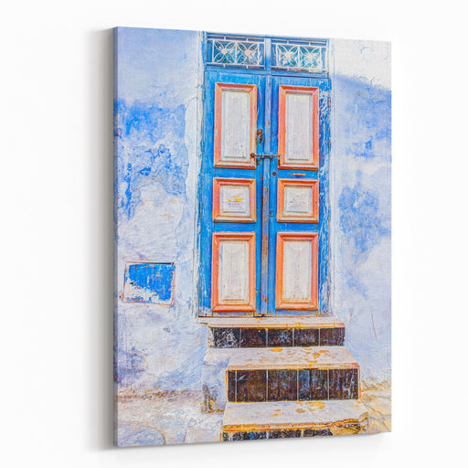 Traditional Old Painted Door In A Historical District Or Medina, Tunisia Colorful Textured Image Of Muslim Architecture Canvas Wall Art Print