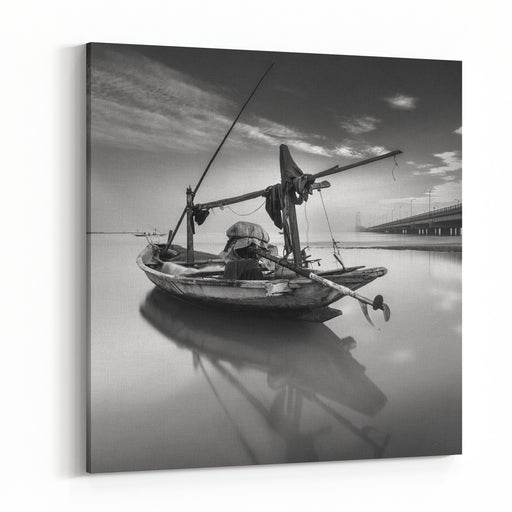 Fishing Boat Kenjeran Beach Surabaya On The Surrounding Coast Suramadu Bridge, Surabaya, East Java, Indonesia  Long Exposure Photography, Soft Effect Canvas Wall Art Print