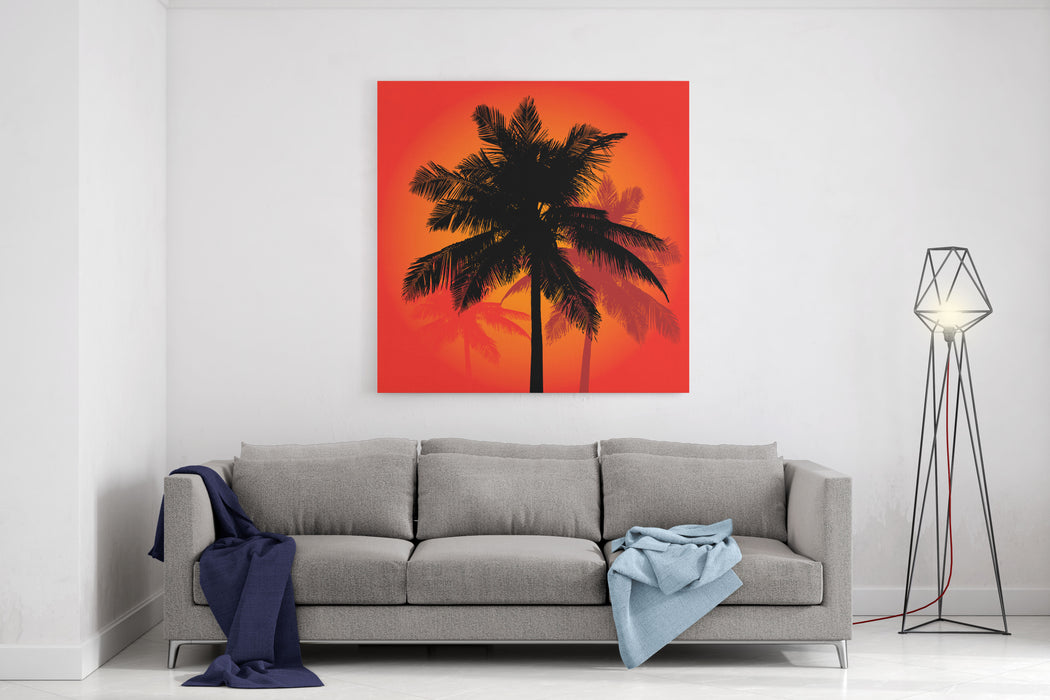 A Trio Of Tropical Coconut Palm Tree Silhouettes Illustration In Vector Format Canvas Wall Art Print
