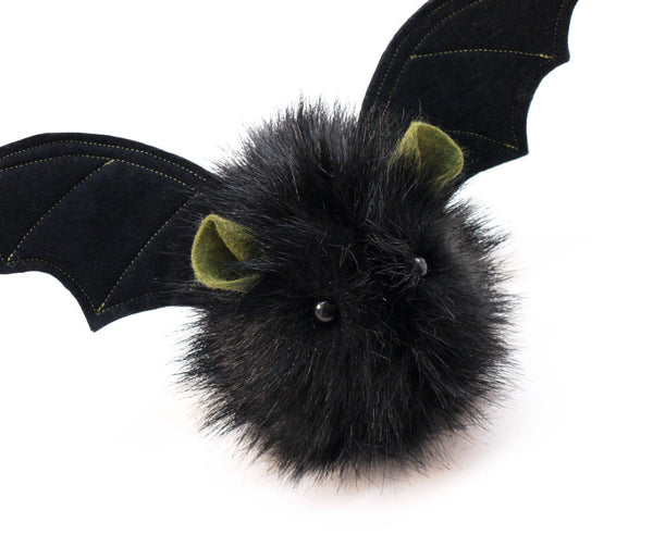 Fang the green eared black bat stuffed animal plush toy angled view.