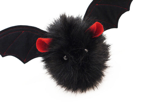 Vlad the Red Eared Black Bat Stuffed Animal Plush Toy close up view.