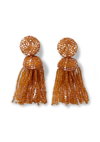 Aprosio & Co. Toffee Tassel Clip On Earrings