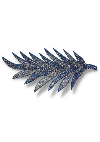 MC Davidian Blue Feather Hair Clip