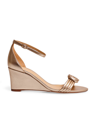 Alexandre Birman Vicky Golden Wedge Sandals
