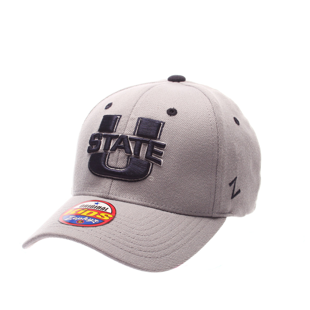 Utah State University ZH Youth Youth/Jr (U STATE) Gray Light Zwool Stretch Fit hats by Zephyr
