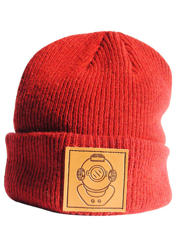 Leather Diver Red Beanie
