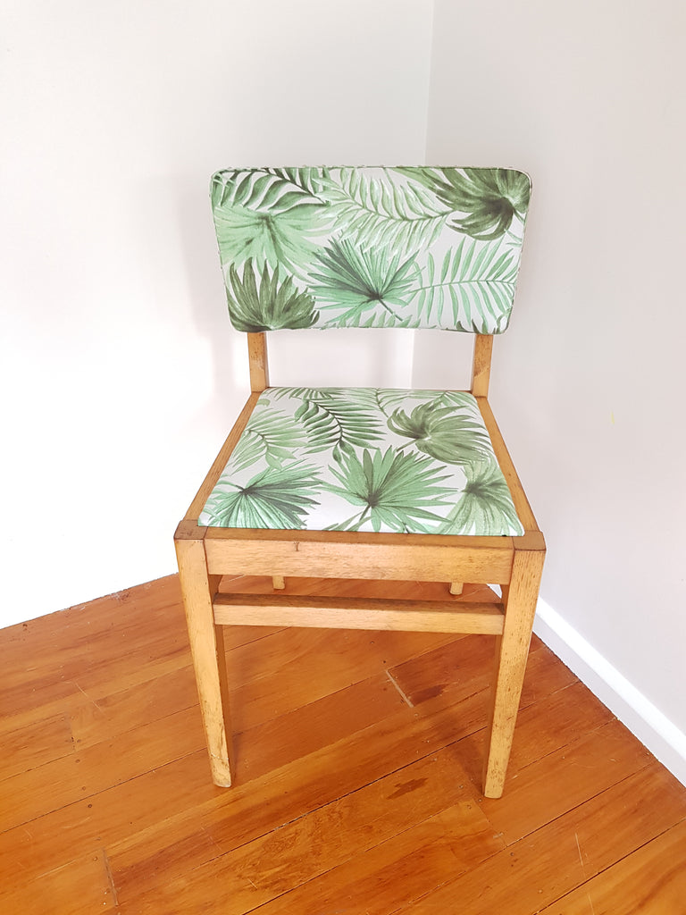 SOLD Palm Print Covered Wooden Chair