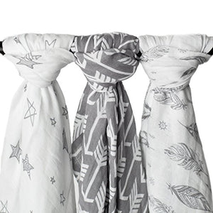 "Muslin Swaddle Blankets ""Wanderer Set"" Large 47x47 inch 