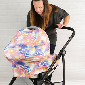 Stretchy Multi-use Car Seat Canopy + Nursing Cover + Shopping Cart Cover in Fleur Print