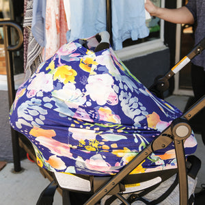 Stretchy Multi-use Car Seat Canopy + Nursing Cover + Shopping Cart Cover in Pastel Floral Print