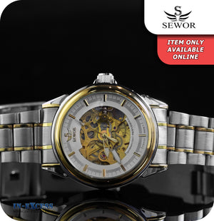 Sewor Imperial Vintage Mechanical Wrist Watch With Link Strap - White Gold