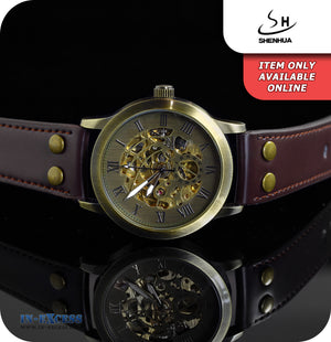 Shenhua Rustic Mechanical Wrist Watch With Synthetic Brown Leather Strap - Brass Gold