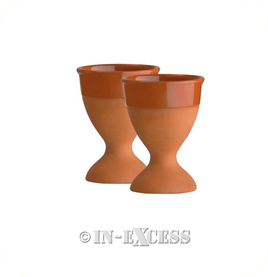 Eddington Mill House Part-Glazed Countryside Terracotta Egg Cups - Set Of Two
