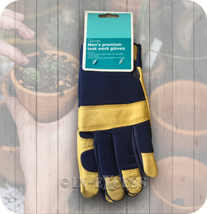 Gardener's Garden Men's Premium Leather Palm Task Work Gloves - One Size