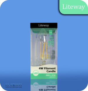 Liteway LED Non-Dimmable Filament Candle Bulb E14 - 4W~25W