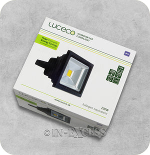 Luceco Guardian LED Tilting Black Floodlight 2800k Warm White - 20W>200W