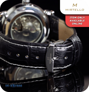 Mirtello Emperor Mechanical Wrist Watch With Genuine Leather Strap - Carbon Black