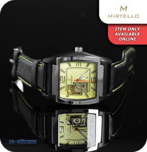 Mirtello Mechanical Mens Wrist Watch Synthetic Leather  - Black & Yellow Gold
