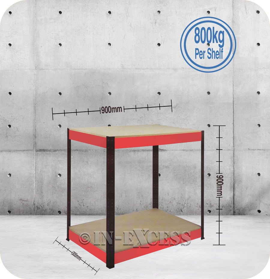 RB Boss Bolt-less Free Standing Garage Shed Workbench Shelving - 900 x 900 x 300mm