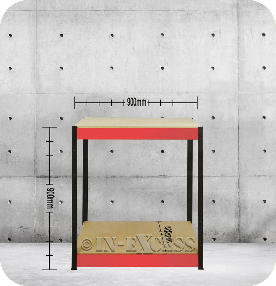 RB Boss Bolt-less Free Standing Garage Shed Workbench Shelving - 900 x 900 x 400mm