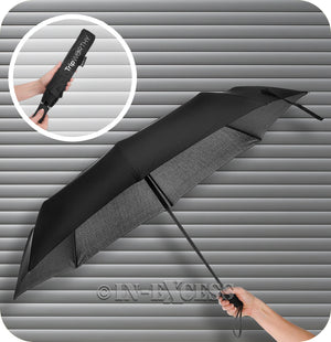 Trip Worthy Slim Compact Automatic Open Close Lightweight Travel Umbrella - Black