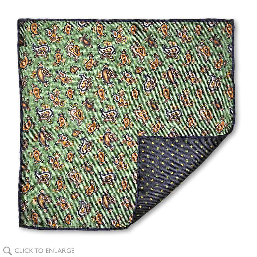double sided Italian hand rolled silk pocket square