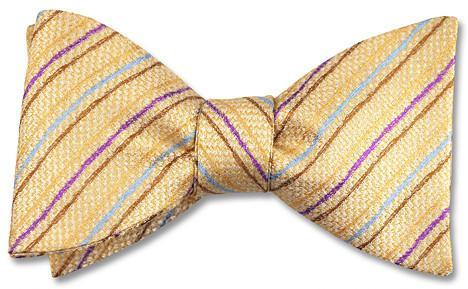 bow tie american made stripes yellow silk