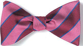 British Woven Stripes Silk Bow Tie Pink Cranberry