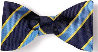 bow ties american made blue navy stripes silk