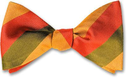 bow ties american made olive orange gold stripes silk