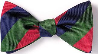 bow ties american made navy green red stripes